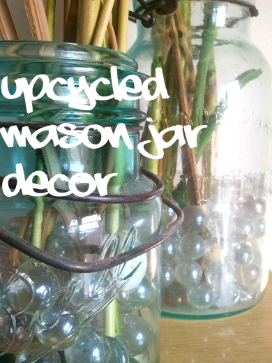 blue mason jars upcycled